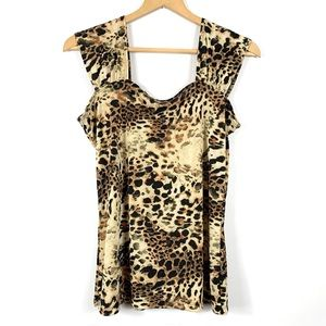 Cheetah Animal Print Sleeveless Blouse